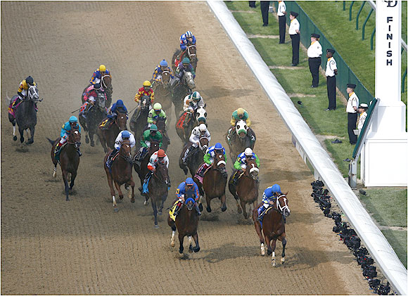 As Keyed Entry and Sinister Minister set a torrid early pace, Barbaro settled in right behind the leaders.